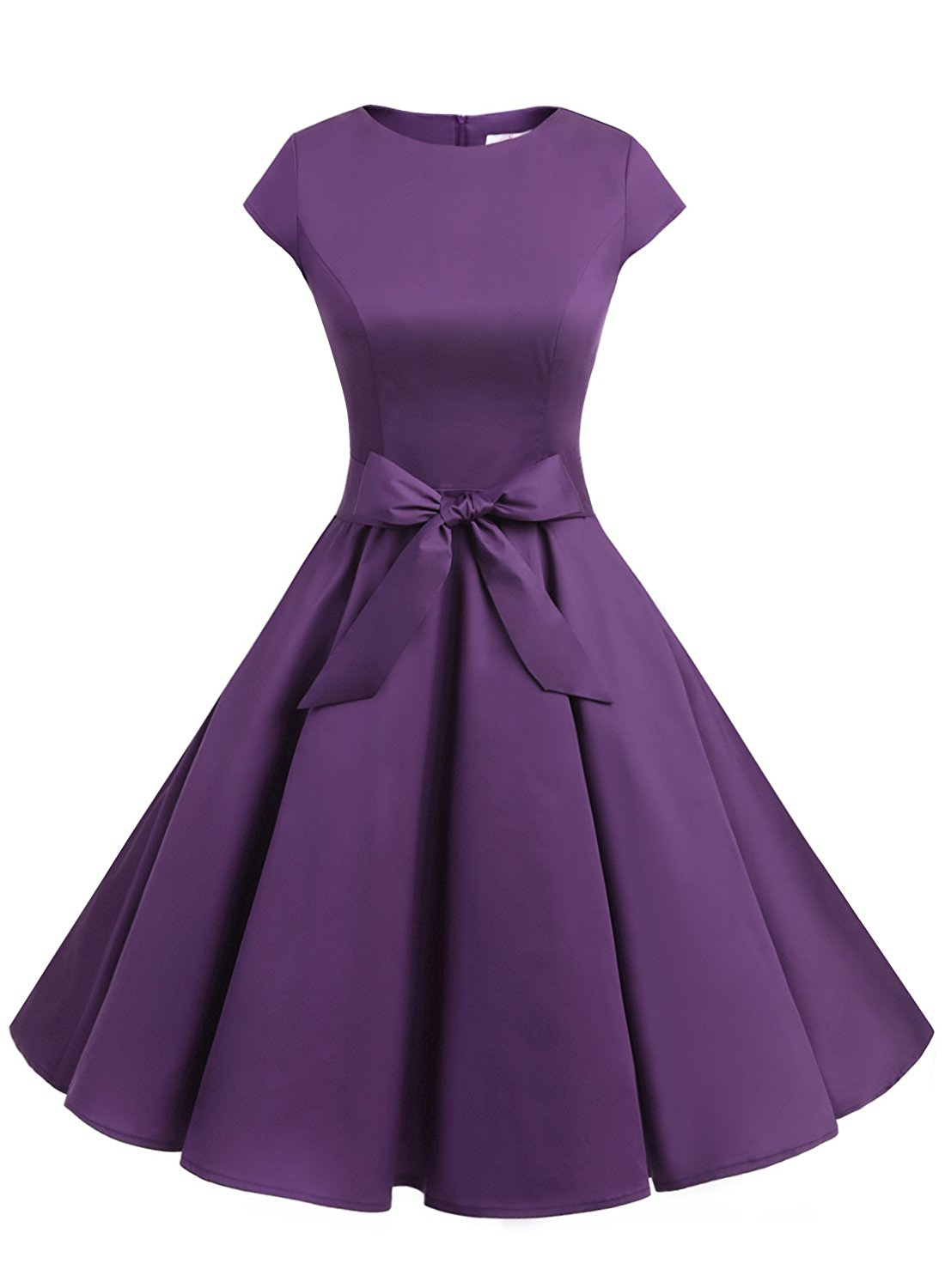 e1ef364e443e 50s Rockabilly Style Cap Sleeves Purple Retro Swing Dress With Bowknot