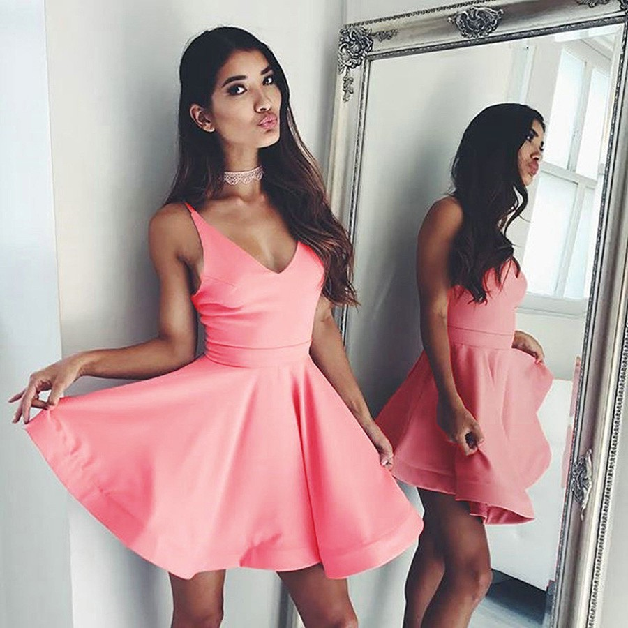 Simple A-Line V-Neck Sleeveless Pink Satin Short Homecoming Dress