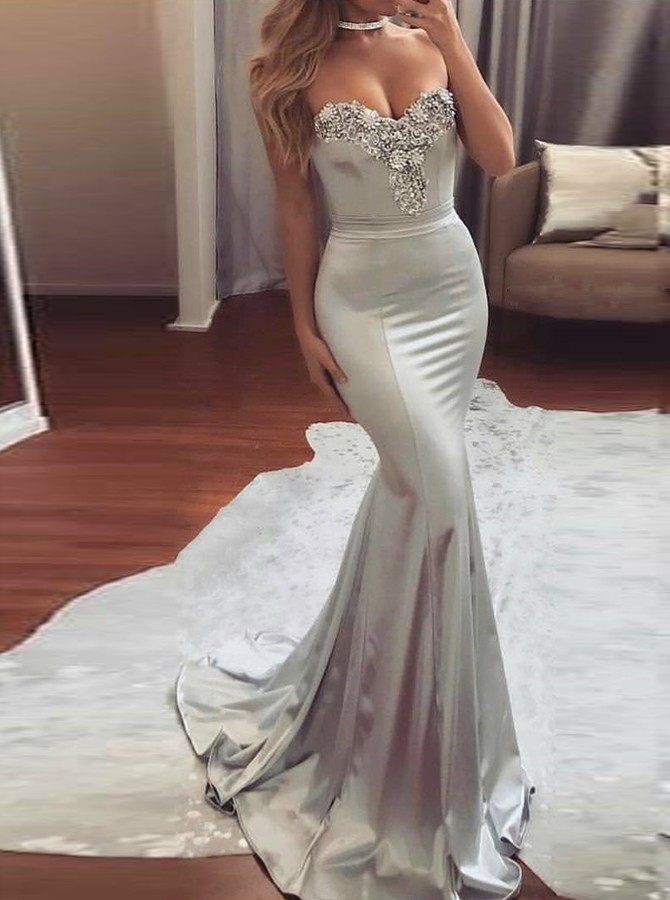 Charming Mermaid Sweetheart Silver Satin Sweep Train Prom Dress With ...