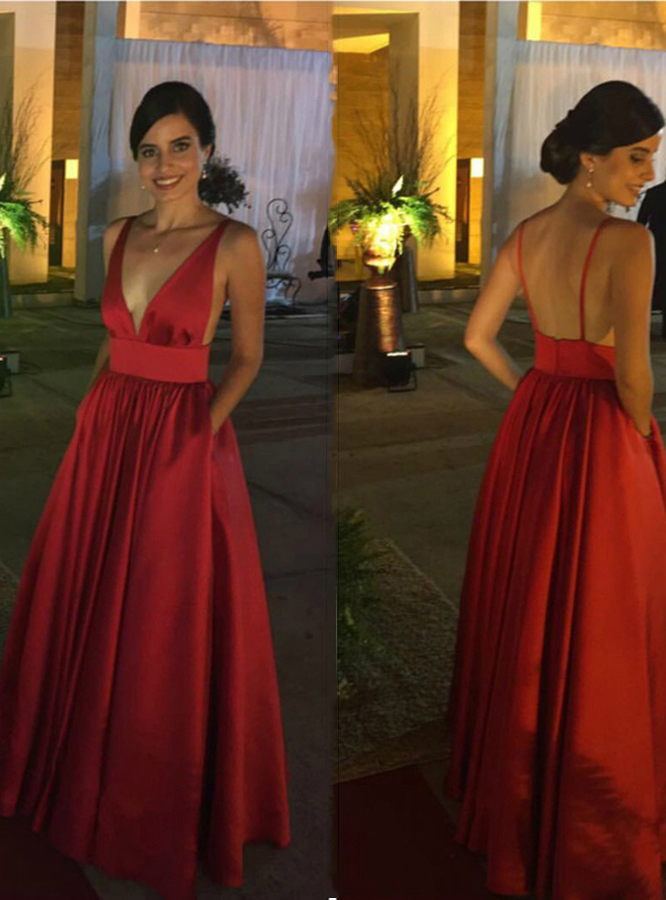 Simple A-Line Deep V-Neck Burgundy Satin Floor Length Prom Dress With  Pockets ab1496adb