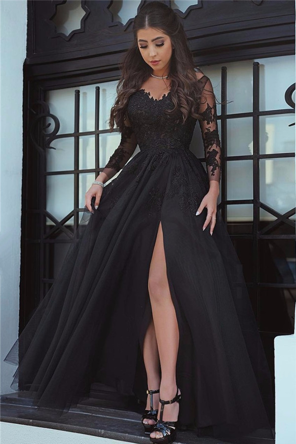 Fashion A Line Long Sleeves Split Front Black Long Prom Dress With
