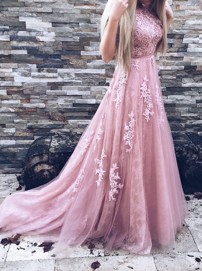 Elegant A-Line Bateau Sleeveless Pink Tulle Long Prom Dress With Appliques
