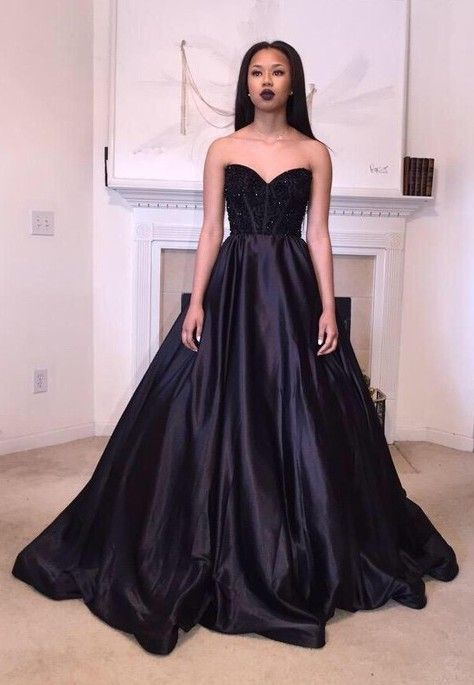 Ball Gown Sweetheart Satin With Beading Sweep Train Black Different ...