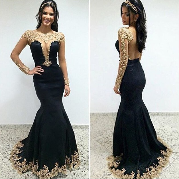 3daa71192d5a Charming Mermaid Prom Party Dress - Black Scoop Long Sleeves With Appliques  on Luulla