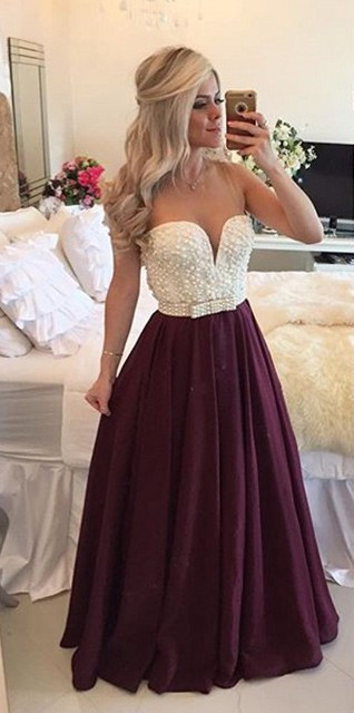 Elegant V-neck A-line Floor-length Pink Prom Dress with Pearls