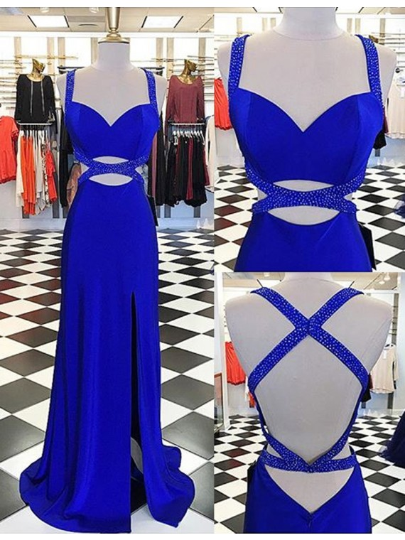 Sexy Straps Floor-Length Split Front Criss-Cross Straps Royal Blue Sheath Prom Dress with Beading