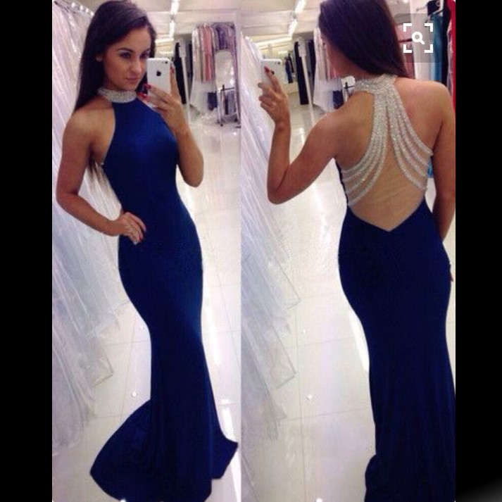 Sexy Mermaid High Neck Sleeveless Royal Blue Long Prom Dress With Beading ec09090e6