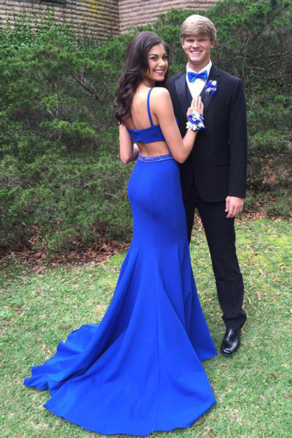65125ec30 Elegant Bateau Open Back Sweep Train Royal Blue Mermaid Prom Dress with  Beading