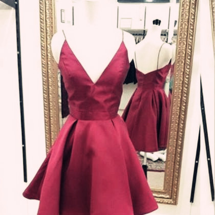 bd03faad897 Cute Wine Red V- Neckline Short Satin Homecoming Dresses