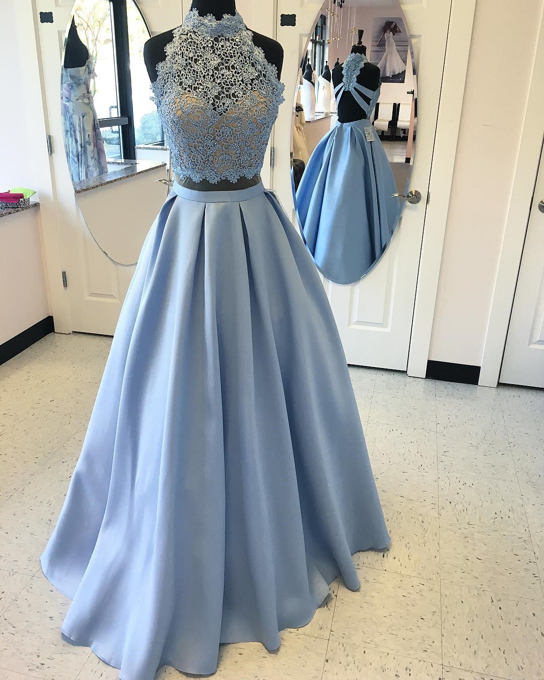 8cb166f412af Fashion Two Piece A-Line High Neck Sleeveless Sky Blue Long Prom Dress With  Lace