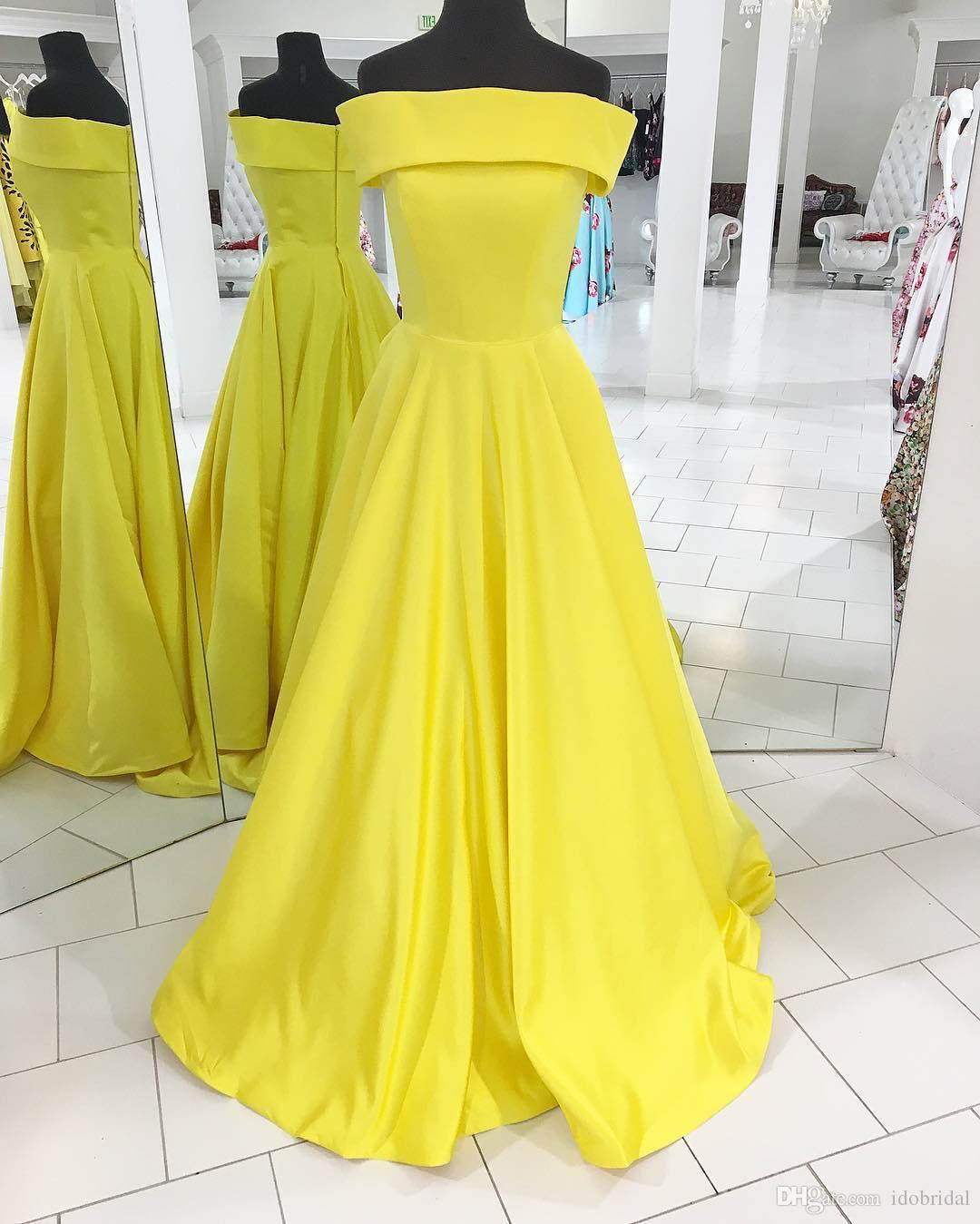 ec4cb3980f9 Off the Shoulder Long Prom Dresses Yellow Simple A Line Evening Dresses  With Ruffles Zipper Back Design Formal Gown for Women