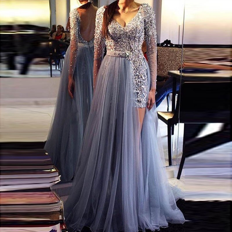 Backless Prom Dress - V-neck Long Sleeves Floor-Length With Sash ...