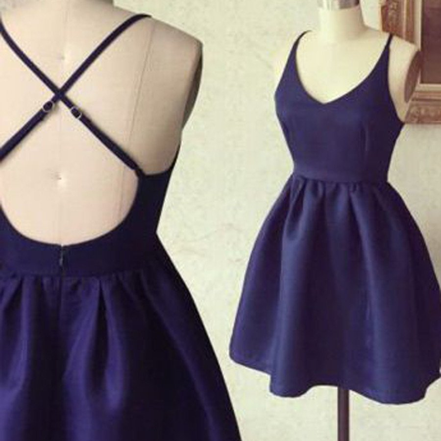 4ecd840c0c4 Simple A-Line Spaghetti Straps Criss Cross Navy Blue Satin Short Homecoming  Dress