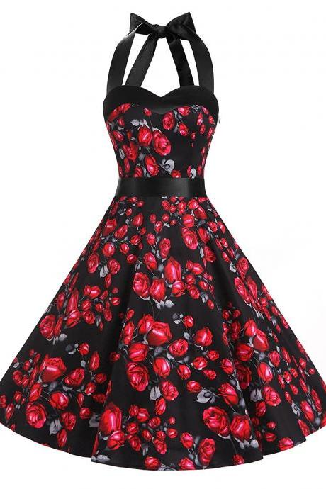 50s Vintage Rockabilly Style Halter Black Floral Print Party Dress