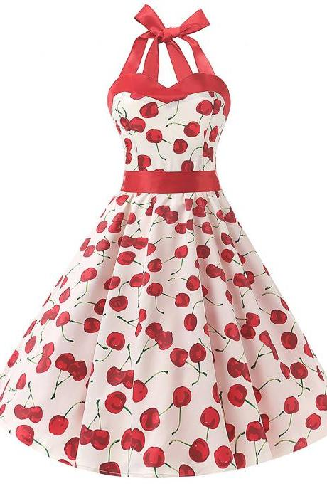 50s Vintage Style Halter White Cherry Print Swing Retro Party Dress