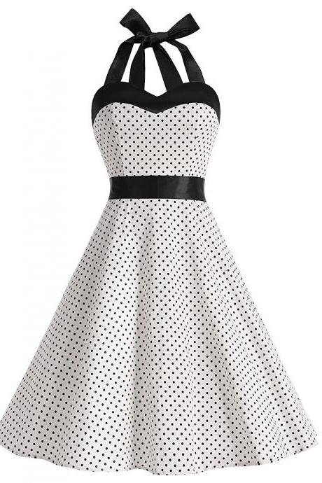 50s Vintage Style Halter White Polka Dots Ruched Retro Dress