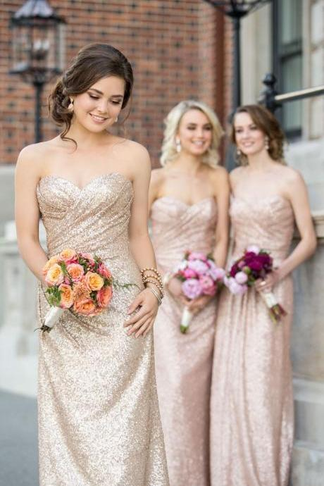 Sexy Sheath Sweetheart Champagne Sequined Long Bridesmaid Dress