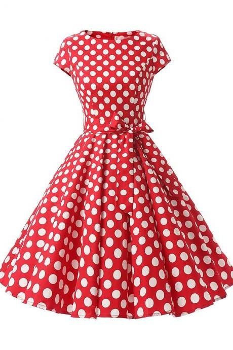 50s Vintage Style Scoop Cap Sleeves Polka Dots Swing Dress With Bowknot