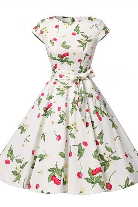 50s Vintage Style Scoop Cap Sleeves Floral Print Swing Dress With Bowknot