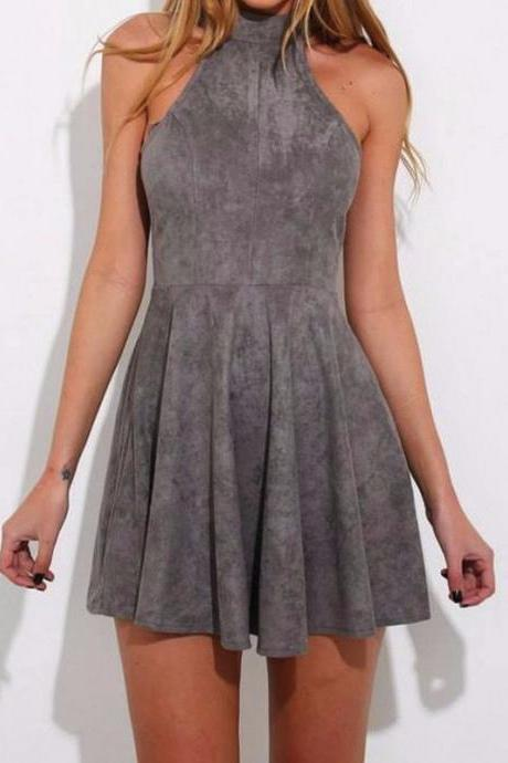 Unique A-Line High Neck Sleeeveless Short Homecoming Dress