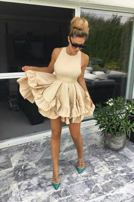 Simple A-Line Jewel Sleeveless Tiered Ruffles Short Homecoming Dress