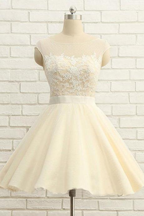 Lace Appliquéd Bateau Neck Cap Sleeved Short Tulle Homecoming Dress Featuring Plunge V Back