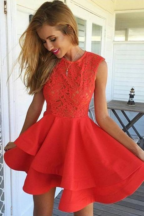 Modern A-Line Jewel Sleeveless Tiered Red Short Homecoming Dress With Lace