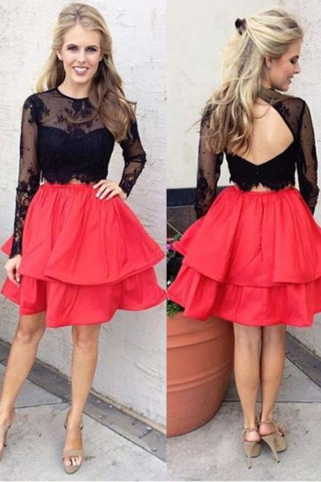 Fashion A-Line Jewel Long Sleeves Open Back Tiered Short Homecoming Dress With Lace