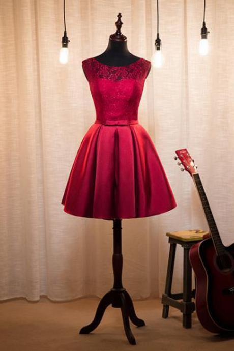 Elegant A-Line Jewel Sleeveless Burgundy Short Homecoming Dress With Lace
