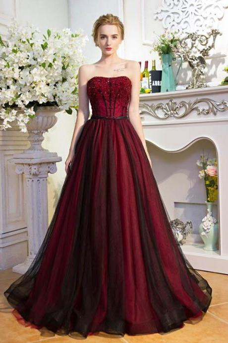 Glamorous A-Line Strapless Long Prom/Evening Dress With Beading