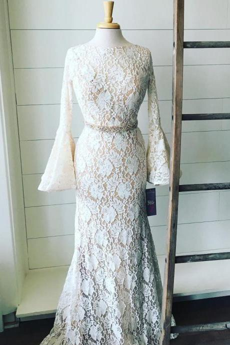 Luxurious Mermaid Jewel Long Sleeves Open Back Lace Long Prom Dress With Beading