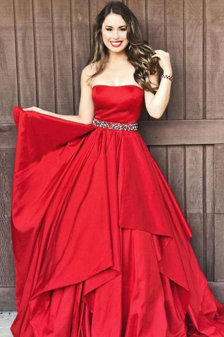 Charming A-Line Strapless Red Long Prom/Evening Dress With Beading