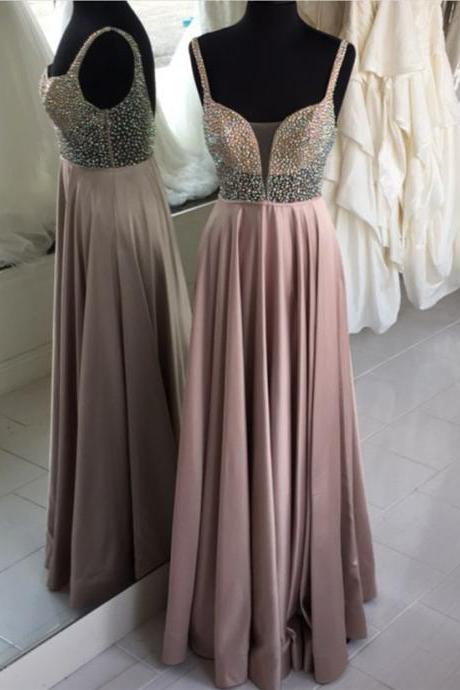 Glamorous A-Line Spaghetti Straps Long Prom/Evening Dress With Beading