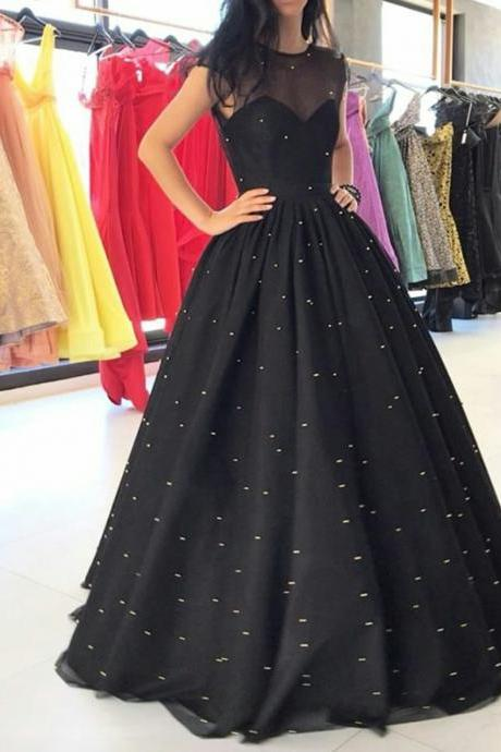 Stunning Ball Gown Jewel Sleeveless Polka Dots Black Long Prom Dress