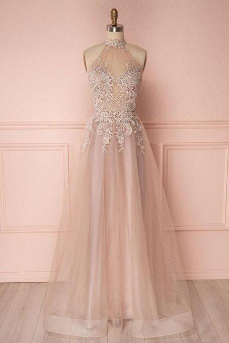 Fashion A-Line High Neck Sleeveless Long Prom/Evening Dress With Appliques