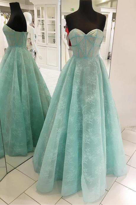Stylish A-Line Sweetheart Lace Long Prom/Evening Dress