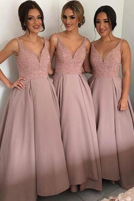 Elegant A-Line V-Neck Sleeveless Floor Length Bridesmaid Dress With Beading