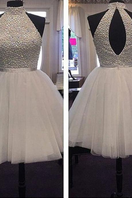 Elegant A-Line High Neck Sleeves Open Back White Short Homecoming Dress With Beading