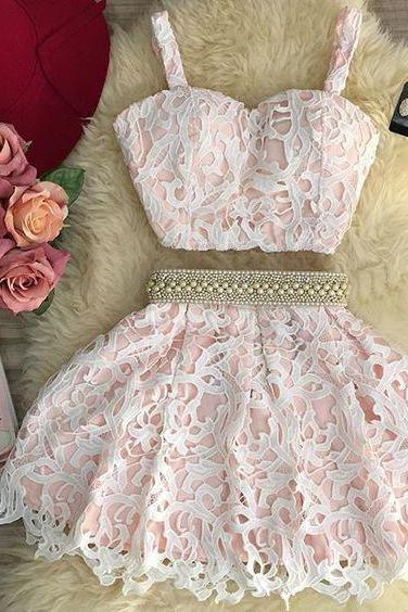 Fashion Two Piece A-Line Spaghetti Straps Lace Homecoming Dress With Beading