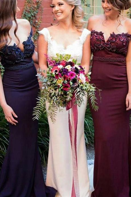 Elegant Mermaid Off-The-Shoulder Long Bridesmaid Dress With Beading