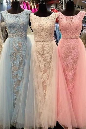 Honorable Long Prom/Evening Dress - Lace A-Line Scoop Gown for Women