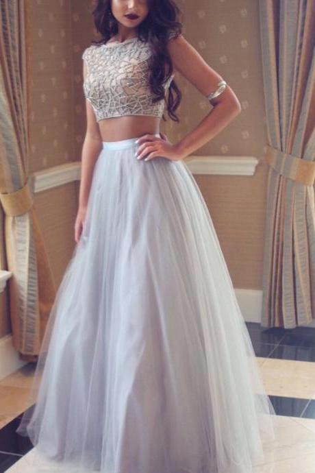 Chic Two Piece Silver Prom Dress - Bateau Cap Sleeves Floor-Length with Beading
