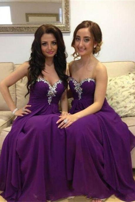 Elegant A-Line Sweetheart Grape Chiffon Floor Length Bridesmaid Dresses with Rhinestone