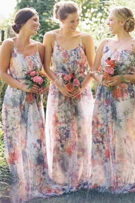 New Arrival Flowery Bridesmaid Dress - Spaghetti Straps A-Line with Flowey