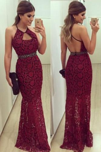 Sexy Halter Sheath Lace Backless Long Dark Red Prom/Evening Dress