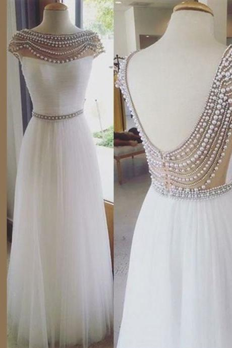 Stylish Bateau Floor-Length White Bridesmaid Dress with Pearls