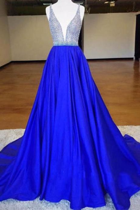 Charming Deep V-Neck Sweep Train Royal Blue Prom Dress with Beading