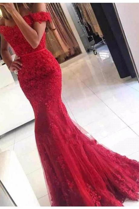 Elegant Off the Shoulder Short Sleeveless Lace Red Prom Dress with Beading
