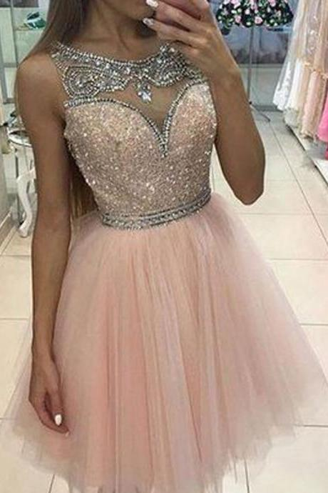 Chic A-Line Bateau Sleeveless Short Homecoming Dress With Beading Sequins