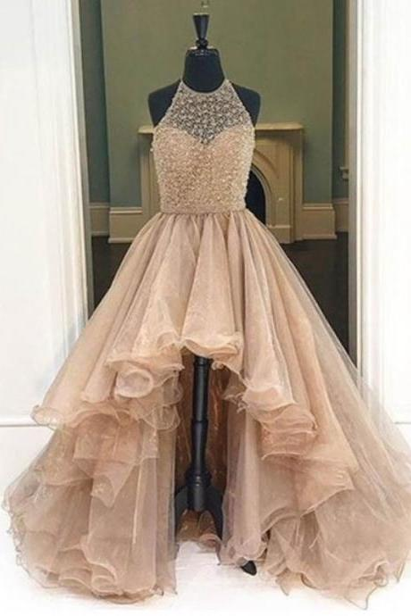 Hot Selling A-Line Champagne Prom Dress - Halter Sleeveless High Low Beading